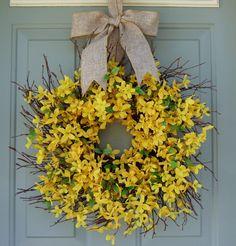 Spring+Wreath++Forsythia+Wreath++Easter+Wreath+by+countryprim,+$49.00