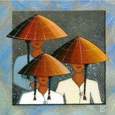 peintures, dessins et images vietnamiennes - Ame Vietnamienne - Em là cô gái Pháp mà hồn em là người Việt Art Carte, Geisha Art, Art Basics, Art Asiatique, Modern Art Paintings, China Art, Naive Art, Japan Art, Fabric Painting