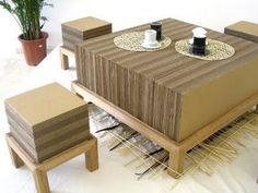 Cardboard table and ottoman stools.