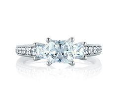 Art Designed Princess Diamond Three Stone Engagement Ring | A. Jaffe