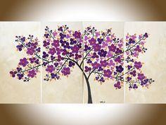 Arte de la lona original gran pintura púrpura por QiQiGallery