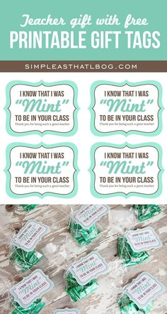 """Mint-themed Teacher Gift idea, PLUS free printable """"mint to be in your class"""" gift tags."""