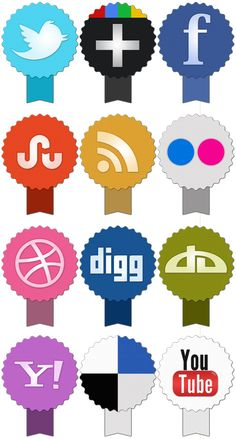 Imagery Investigation: Cool ribbon-like icons. Has Facebook, Twitter, Google+, RSS, Dribble, but no LinkedIn.