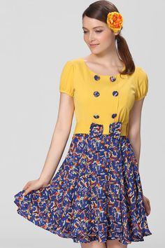 #ROMWE Buttoned Bow-tied Floral Yellow Dress