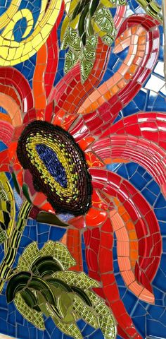 "Sun Dance - (detail) One of two 6'H x 20""W mosaic wall panels to be installed at Cottage Hospital Goleta Valley Medical Building- Passiflora Mosaics, 2016"