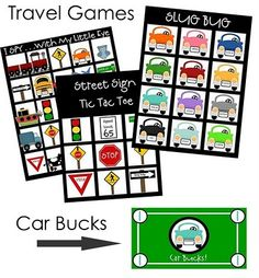Car Travel Games printable car games, travel bucks (earned for good behavior) & more. What a great idea! Road Trip Activities, Road Trip Games, Activities For Kids, Road Trips, Road Trip With Kids, Travel With Kids, Fun Games, Games For Kids, On The Road Again