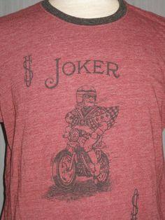 Lucky Brand Adult Large Poker Joker Red Ringer T-Shirt (L Motorcycle Bike Ace)…