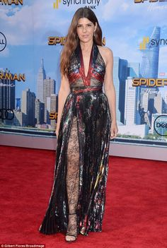 Frock and roll: Marisa Tomei stepped out in style for the LA premiere of Spider-Man: Homecoming on Wednesday