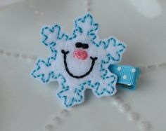 Cute Pink Snowman Hair Clip by MyLittlePixies on Etsy