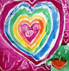 Avery3729's art on Artsonia Kindergarten artists traced a small heart in the middle of their page and then repeated the pattern to make a large heart on their paper. They outlined the heart in white oil pastel and painted it with watercolor to create a resist. The students loved the freedom of choosing their own colors to make their hearts.