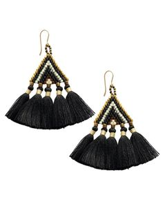 Unique boho fringe beaded earring. Handmade by women in the Philippines and in 5…
