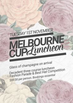 Gorgeous vintage floral poster template for Melbourne Cup and Spring Racing Promotion