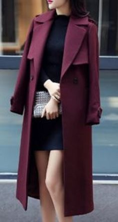 Looks I LOVE! Casual Turn-Down Collar Solid Color Long Sleeves Worsted Wool Coat Fall Outerwear