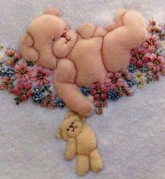 Lullaby Bear by Jan Kerton Baby Embroidery, Silk Ribbon Embroidery, Vintage Embroidery, Embroidered Baby Blankets, Cot Blankets, Crochet Basics, Baby Crafts, Machine Embroidery Designs, Needlework