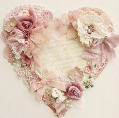 Items similar to Heart canvas . hanging wall heart canvas by Miss Rose Sister Violet. on Etsy Shabby Chic Vintage, Shabby Chic Crafts, Vintage Crafts, Shabby Chic Homes, Shabby Chic Style, Shabby Chic Flowers, Vintage Heart, Vintage Lace, Valentine Decorations