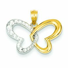 14K Gold Yellow Gold Rhodium Plated Diamond Cut Butterfly Pendant