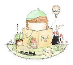 reading kid illustration