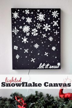 Let It Go - Create a stunning Lighted Snowflake Canvas in only 3 steps! This Christmas Decoration looks so pretty all aglow at night! {The Love Nerds}