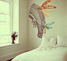 Boho Chief Warrior Inspired Headdress Decor - Full of Feathers - Vintage Surf Culture Artwork - Wall Decals by 3rdaveshore on Etsy, $165.00