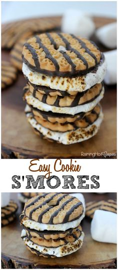 Easy Cookie S'mores - These have melted chocolate, gooey marshmallows and are really easy to make!