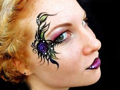 The artists at Juicy Body Art know their way around a paint brush! Body painting, face painting, fantasy makeup, and extreme makeup artistry, Melbourne. Eye Face Painting, Adult Face Painting, Face Paint Makeup, Belly Painting, Face Painting Designs, Fancy Dress Makeup, Purple Tattoos, Cheek Art, Extreme Makeup
