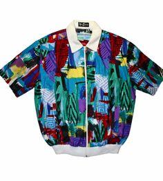 Vintage 90s Colorful Zip Up S/S Jacket Mens Size Large $45.00