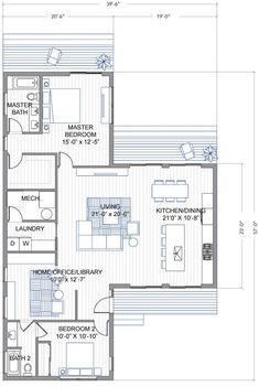Blu Homes unveils a new prefab home, the Breeze Aire, a bedroom, modern home inspired by Joseph Eichler's iconic designs. Small House Plans, House Floor Plans, Casas Containers, Murphy Bed Plans, One Story Homes, Suites, Story House, Prefab Homes, House Layouts