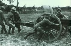 Chinese soldiers with Krupp 75mm Model 1903 artillery piece. Germany was major supplier of arms in 1930s.