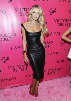 Candice Swanepoel in Leather Dress @ Victoria's Secret Event