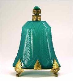 301: 1920s Austrian Perfume Bottle Green Deco : Lot 301