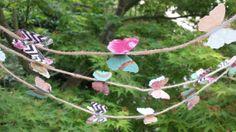Vintage Butterfly Garland/Banner on jute by PaperAndLaceStudios, $15.00