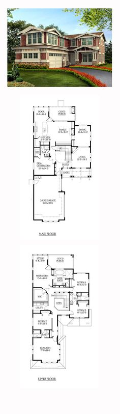 Lovely home + architecture. House Plan ID: chp-39816 | Total Living Area: 3416 sq. ft., 5 bedrooms, and 4 bathrooms.