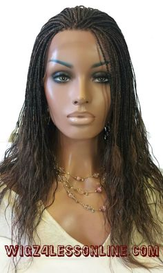 "24"" Custom Braided Wet N' Wavy Remy Hair Blend Whole Lace Wig"