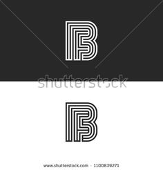 Initials FB logo monogram, simple parallel thin lines design, union two letters F and B, creative idea business card emblem BF