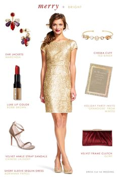 83ea70a369 Outfit ideas for Christmas and New Year s Short Sleeve Gold Sequin Dress   holidaydress  partydress