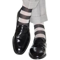 Dapper Classics Black with Ash Wide Stripe Sock Linked Toe