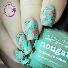 piCture pOlish = Heini aka @sevenseasofpolish wearing Nougat + Honeydew + Coral Reef + Bright White + Black. Loving this unique look ❤️❤️ thank you Heini :) www.picturepolish.com.au