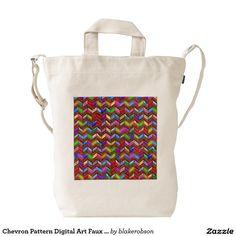 Chevron Pattern Digital Art Faux Leather Duck Canvas Bag