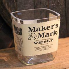Empty Maker's Mark Bourbon Whiskey Bottle Cut by ReWickedCandle