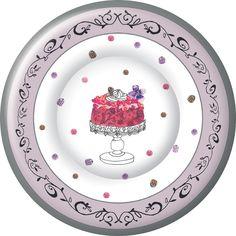 IHR Fancy Cake Birthday Celebration Designer Printed Paper Salad Dessert Plates Wholesale PK586700