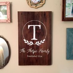 Custom Last Name Wood Sign | Personalized Barnwood Sign | Reclaimed Wood | Gallery Wall Decor | Family Name Décor by WiscoFarms on Etsy https://www.etsy.com/listing/245300629/custom-last-name-wood-sign-o