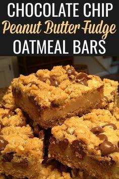 Peanut Butter Oatmeal Bars, Chocolate Oatmeal Cookies, Oatmeal Cookie Recipes, Brownie Recipes, Chocolate Chips, Chocolate Fudge, Peanut Butter Cookies, Sweet Desserts, Just Desserts