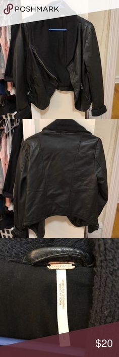 Free People faux leather cropped jacket size 6 Gently used condition, pretty warm because of the faux shearling accents Free People Jackets & Coats
