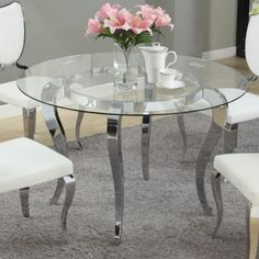 Chintaly Letty Glass Top Dining Table