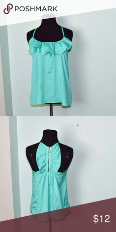 Beautiful Bright Aqua Ruffle Blouse In excellent condition! Super chic, comfortable, and lightweight! Buy 3 items and get 1 free plus 15% off your purchase total! Tops Blouses