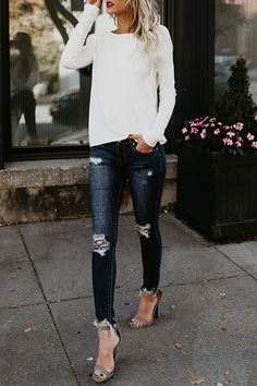 Sexy Round Neck Asymmetric Hem Backless Plain T-Shirts – Bellalike. Sexy Round Neck Asymmetric Hem Backless Plain T-Shirts – Bellalike. Fashion Mode, Look Fashion, Fashion Outfits, Feminine Fashion, Cheap Fashion, Fashion Clothes, High Fashion, Jeans Fashion, 50 Fashion