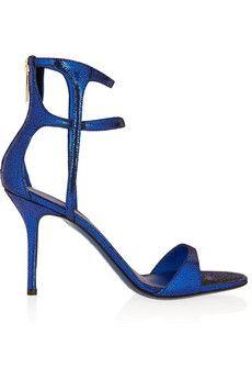 Tamara Mellon Glow metallic cracked-suede sandals | THE OUTNET