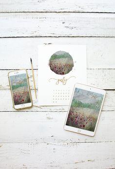 Free July 2017 Calendar – Printable – iPad – iPhone – Desktop