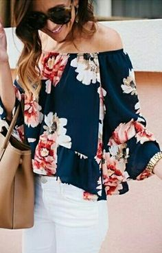 Floral, off-the-shoulder shirt. White jeans.