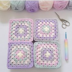 Last colour round added. Just the cream to go then let the joining commence 💖 💜 💙 Colours courtesy of colour recipe… Crochet Quilt, Crochet Blocks, Granny Square Crochet Pattern, Crochet Squares, Crochet Blanket Patterns, Baby Blanket Crochet, Crochet Motif, Crochet Afghans, Crochet Flowers